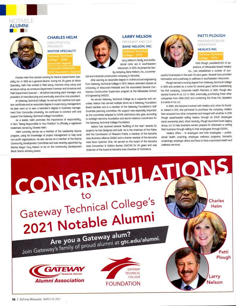 Notable Alumni in BizTimes - April 2021